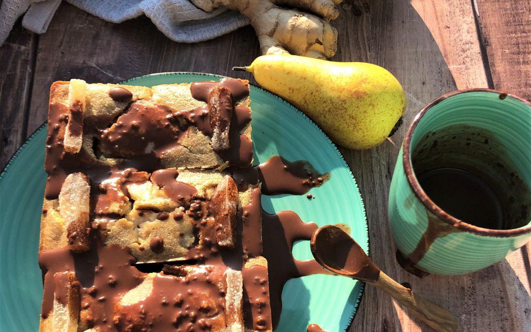 Clafoutis poires et gingembre au coulis de chocolat